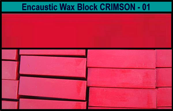 01 Crimson encaustic art wax block
