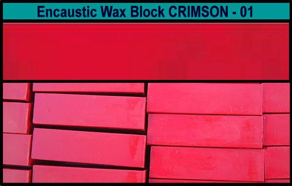 01 Crimson encaustic art wax block