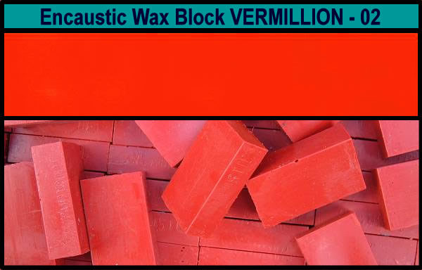 02 Vermillion encaustic art wax block