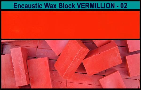 02 Vermillion encaustic art wax block