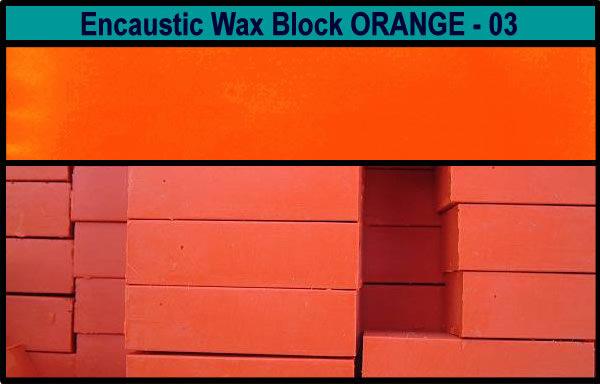 03 Orange encaustic art wax block