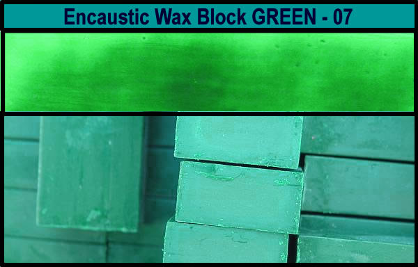 07 Green encaustic art wax block