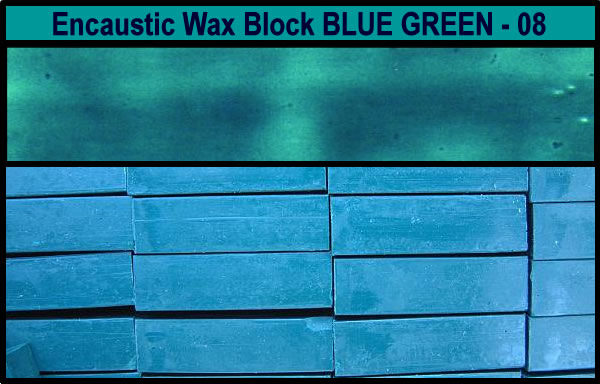 08 Blue Green encaustic art wax block