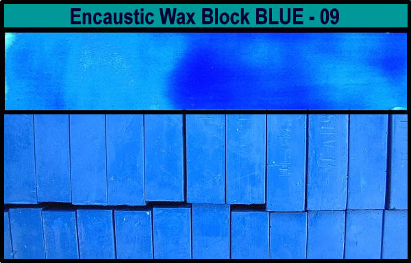 09 Blue encaustic art wax block