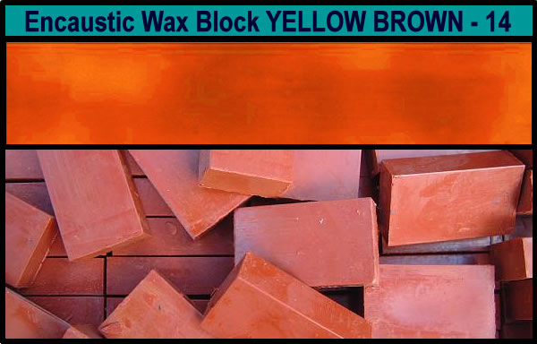 14 Yellow Brown encaustic art wax block
