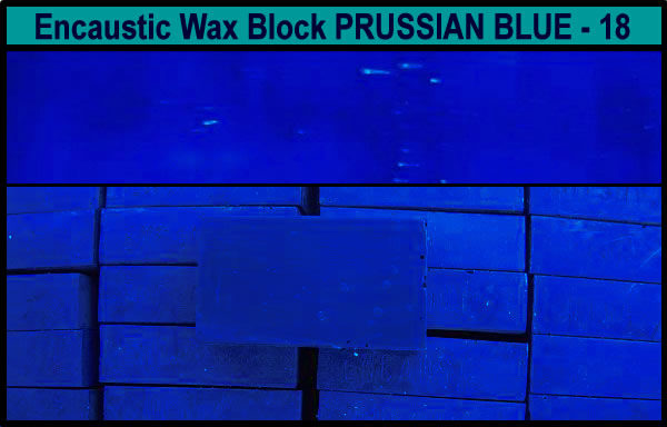 18 Prussian Blue encaustic art wax block