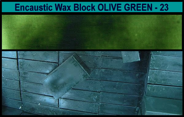 23 Olive Green encaustic art wax block