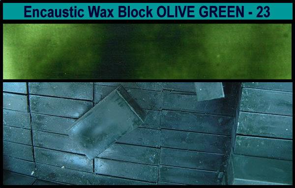23 Olive Green encaustic art wax block