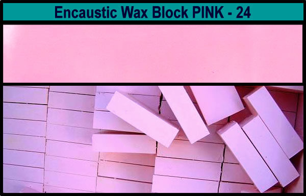 24 Pink encaustic art wax block