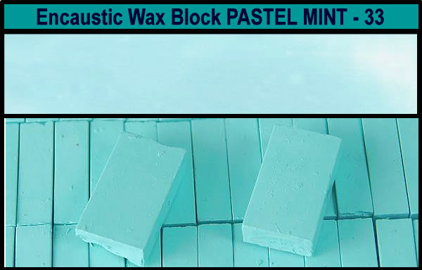 33 Pastel Mint encaustic art wax block