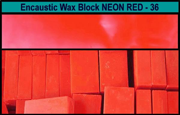 36 Neon Red encaustic art wax block