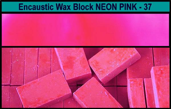 37 Neon Pink encaustic art wax block