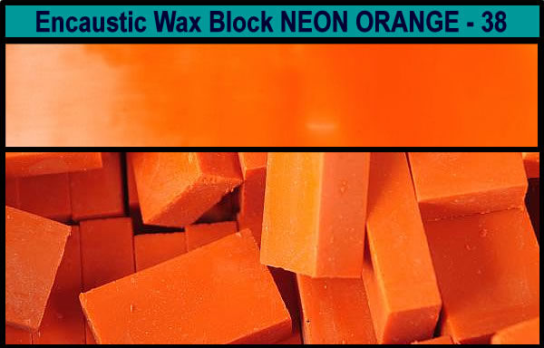 38 Neon Orange encaustic art wax block