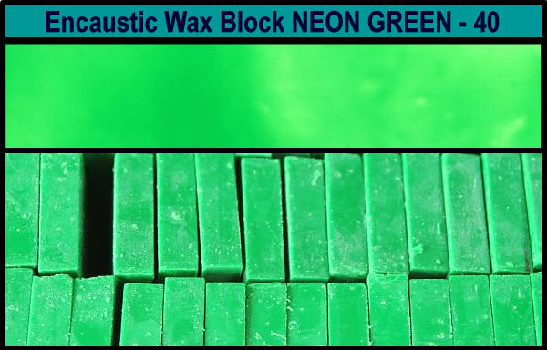40 Neon Green encaustic art wax block
