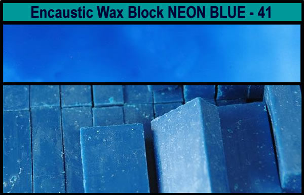 41 Neon Blue encaustic art wax block