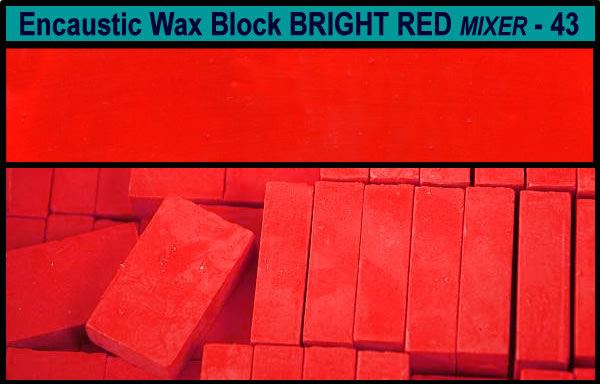 43 Bright Red Mixer encaustic art wax block