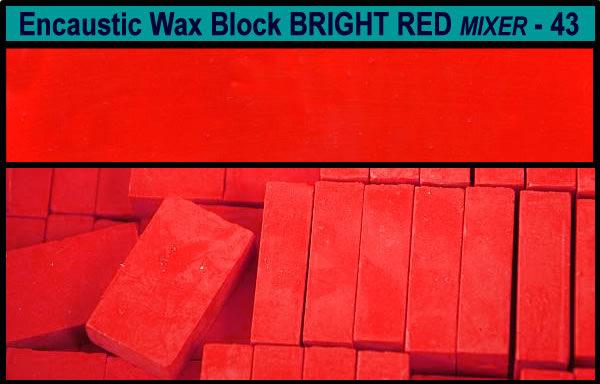 43 Bright Red Mixer encaustic art wax block