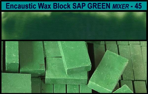 45 Sap Green Mixer encaustic art wax block