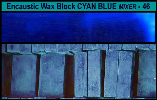 46 Cyan Blue Mixer encaustic art wax block