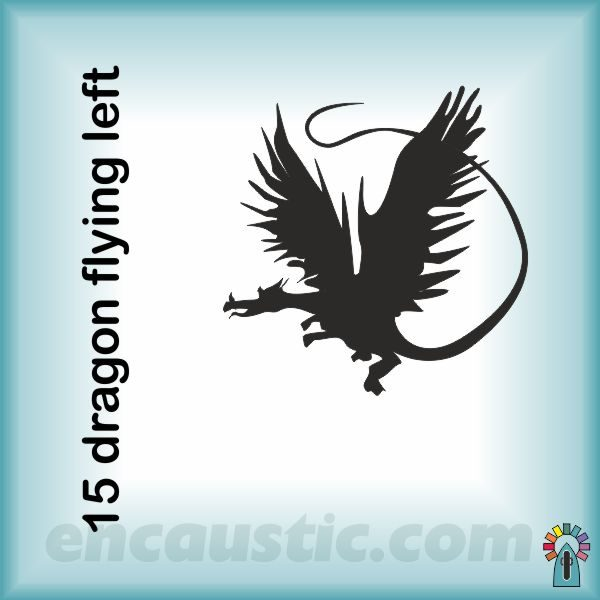 99550015DRL_dragon_flying_left_rubber_stamp_600