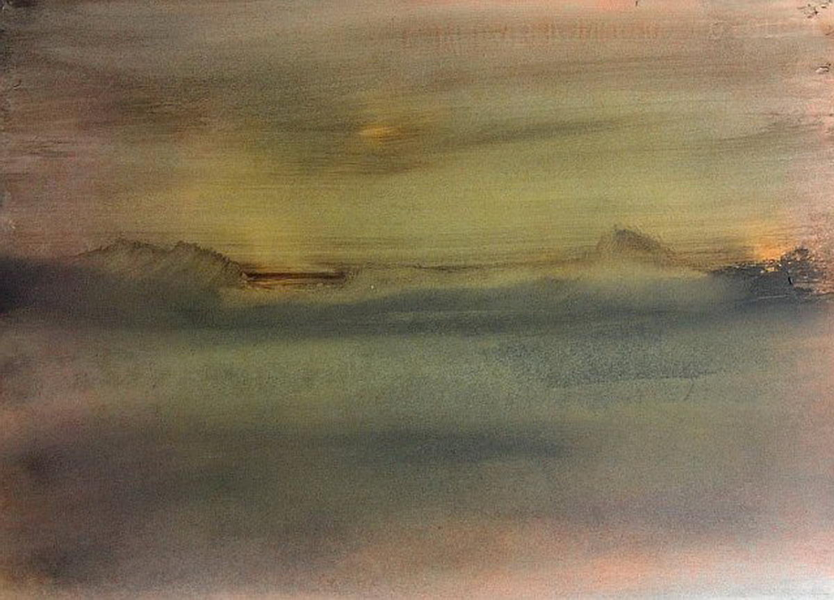 Creative artistic melting of encaustic for Wax landscape