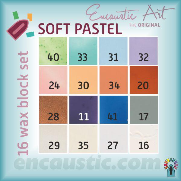 99535160 SOFT PASTEL waxes 16 block set
