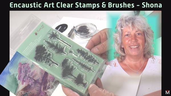 Encaustic Art Stamps - painted tree by Shona Bossom 2020